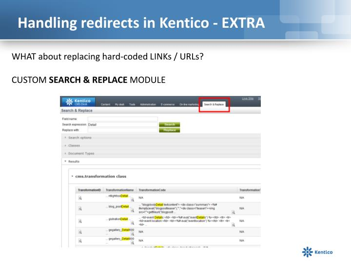 Handling redirects in Kentico - EXTRA