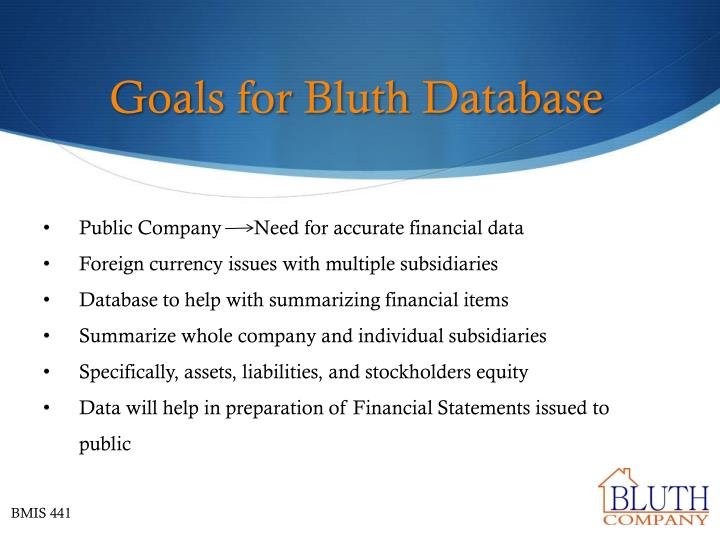 Goals for bluth database