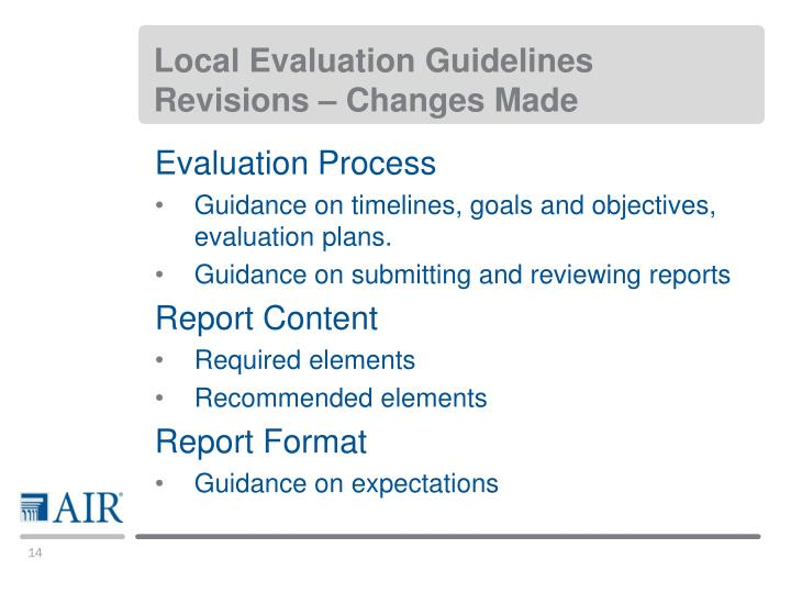Local Evaluation Guidelines Revisions – Changes Made