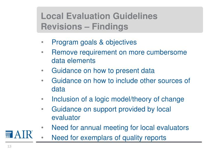 Local Evaluation Guidelines Revisions – Findings