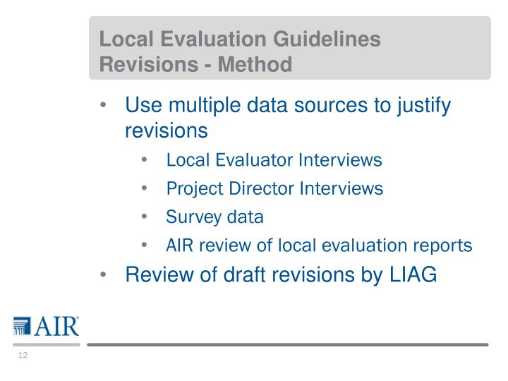 Local Evaluation Guidelines Revisions - Method