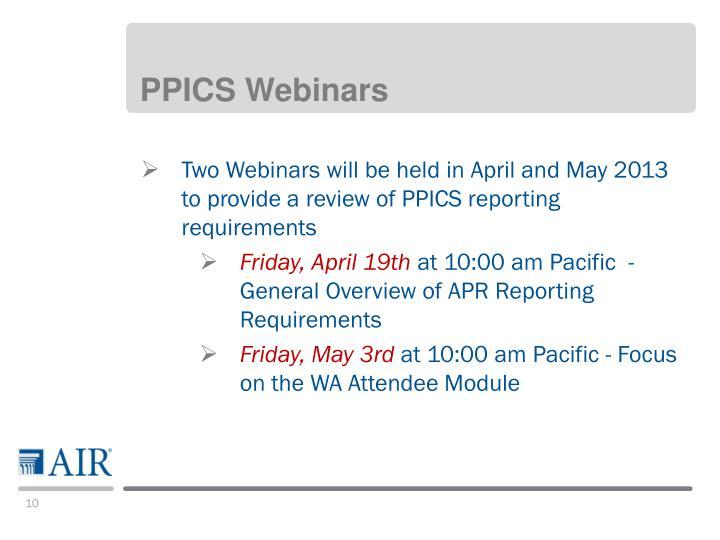 PPICS Webinars