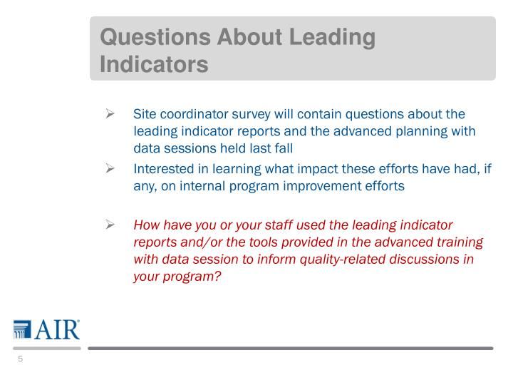 Questions About Leading Indicators