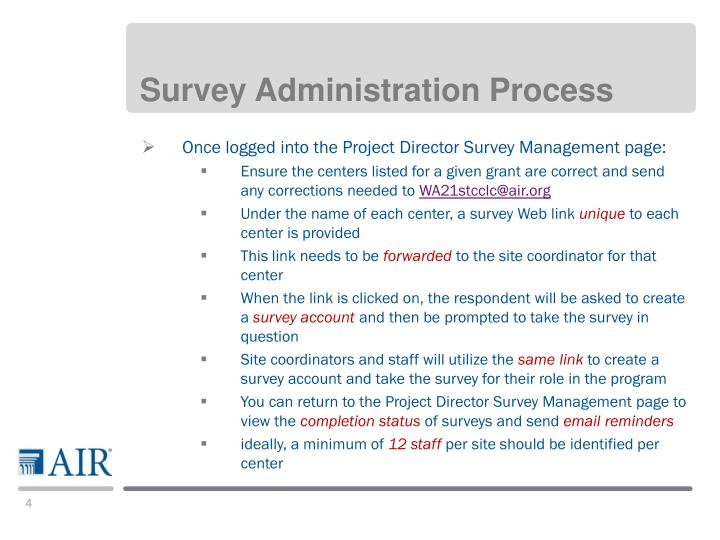 Survey Administration Process
