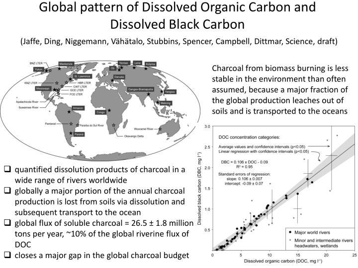 Global pattern of Dissolved Organic Carbon and
