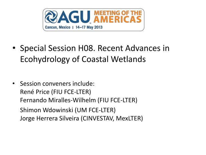 Special Session H08. Recent Advances in