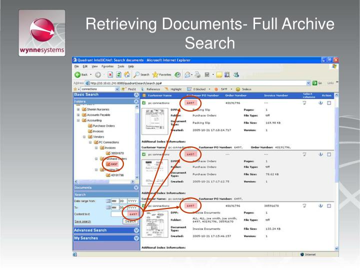 Retrieving Documents- Full Archive Search