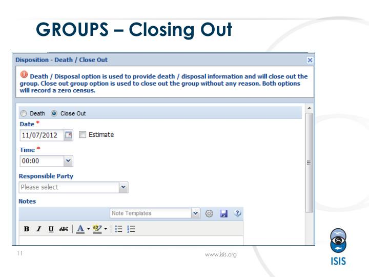 GROUPS – Closing Out