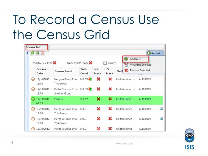 To Record a Census Use the Census Grid