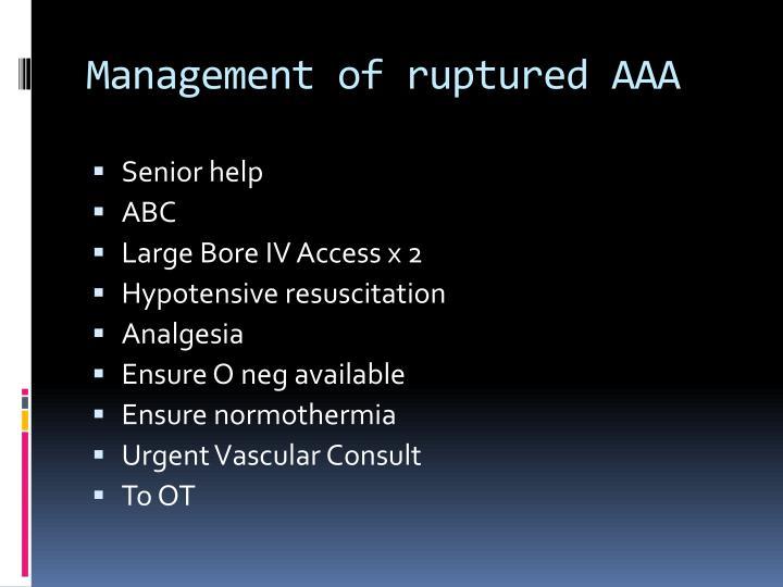 Management of ruptured AAA