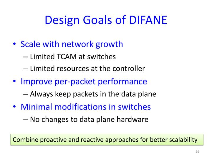 Design Goals of DIFANE