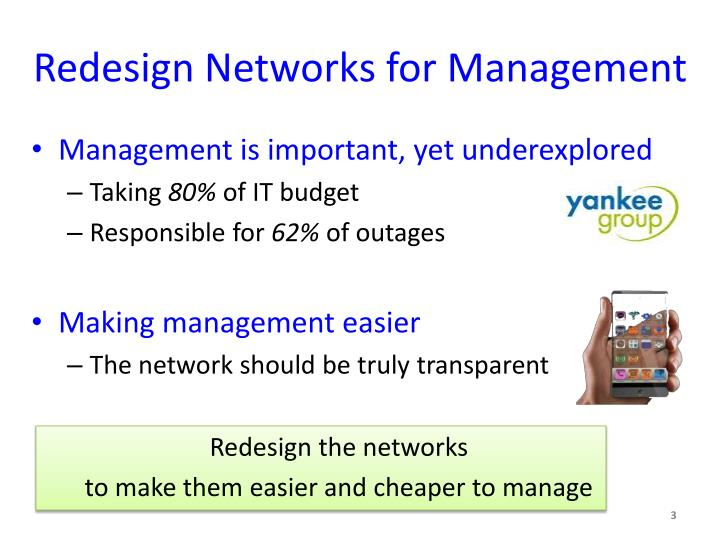 Redesign networks for management