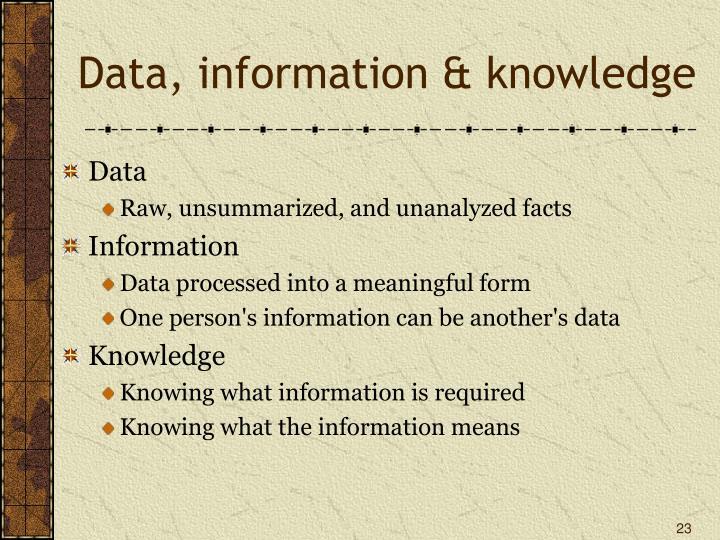 Data, information & knowledge