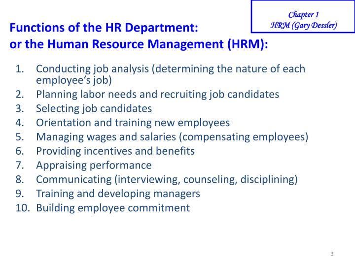 Functions of the hr department or the human resource management hrm