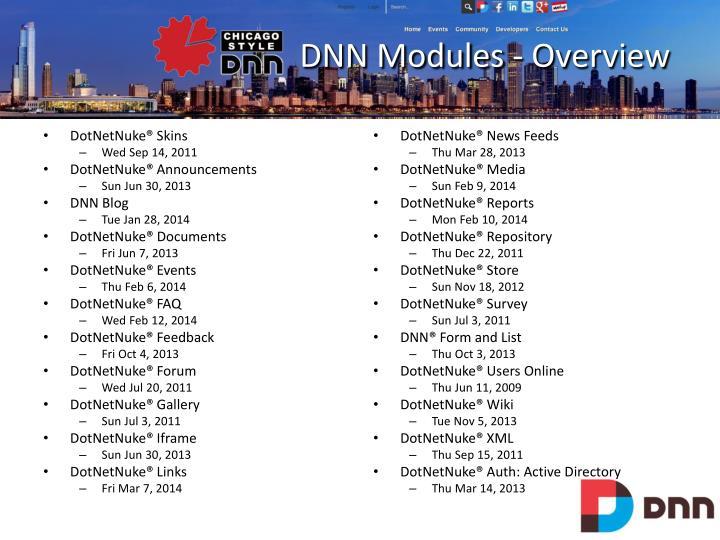 DNN Modules - Overview