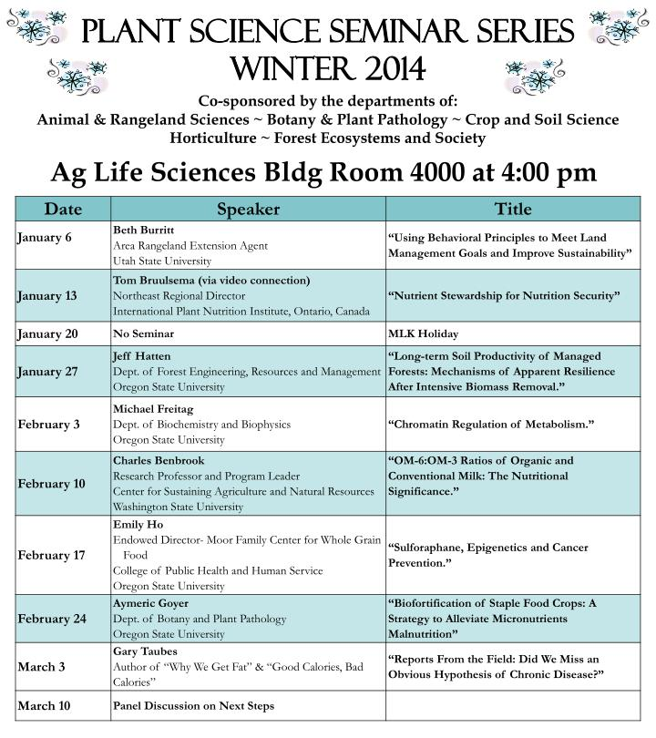 Plant Science Seminar Series