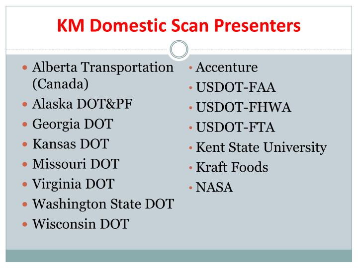 KM Domestic Scan Presenters