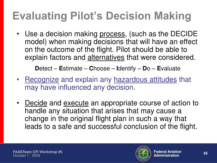 Evaluating Pilot's Decision Making