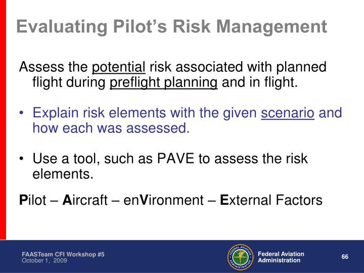 Evaluating Pilot's Risk Management