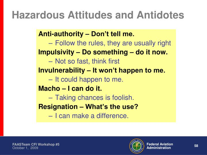 Hazardous Attitudes and Antidotes