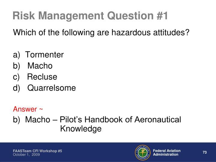 Risk Management Question #1