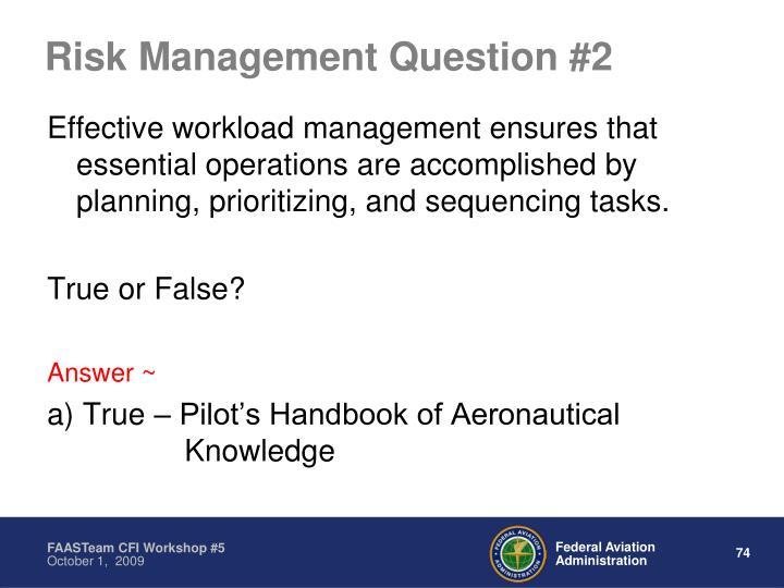 Risk Management Question #2