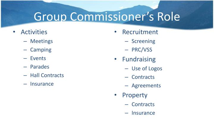 Group Commissioner's Role