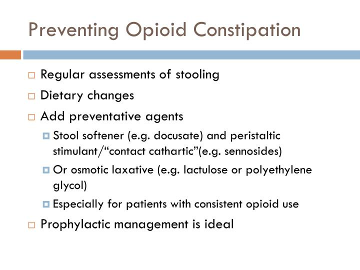 Preventing Opioid Constipation
