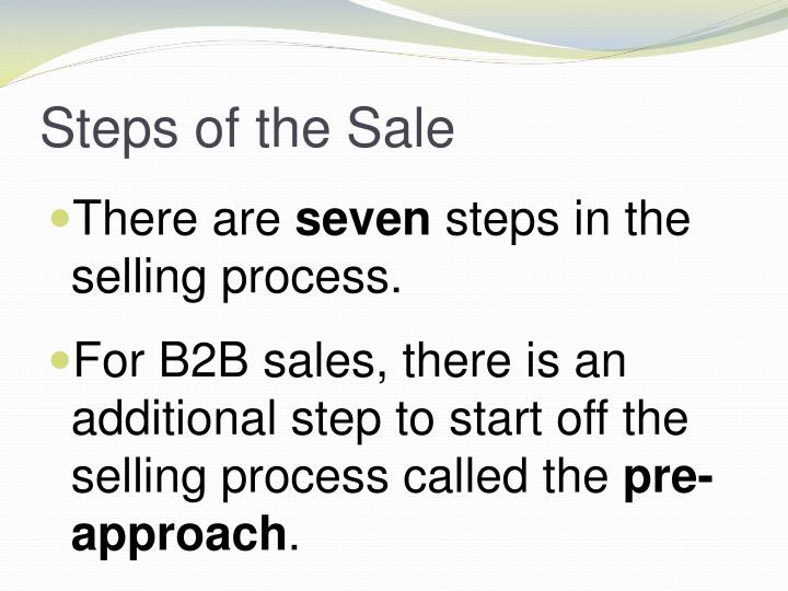 the presentation of a sale process Salespeople don't always think in terms of certain stages of a sale as being different events, but, in fact, they are – and they're all necessary to advance the sales process for example, qualifying often happens as part of the cold call , the sales presentation , or both.