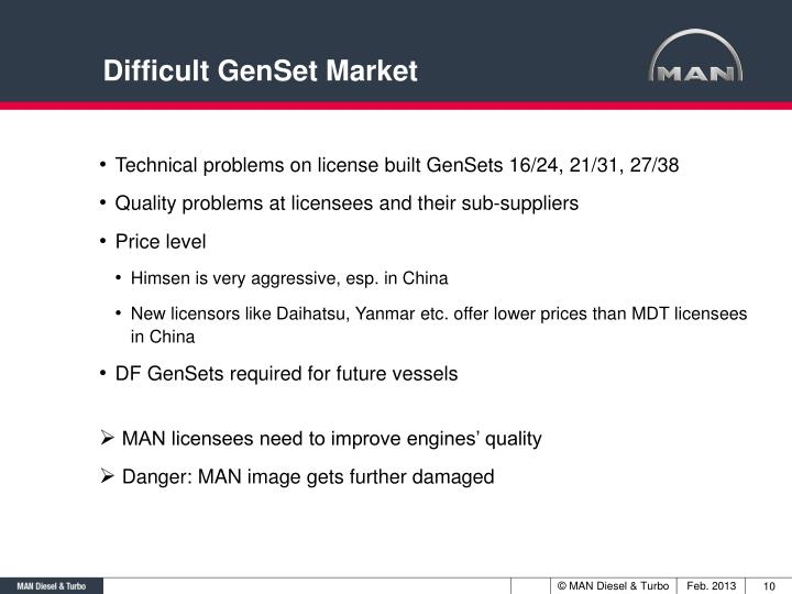 Difficult GenSet Market