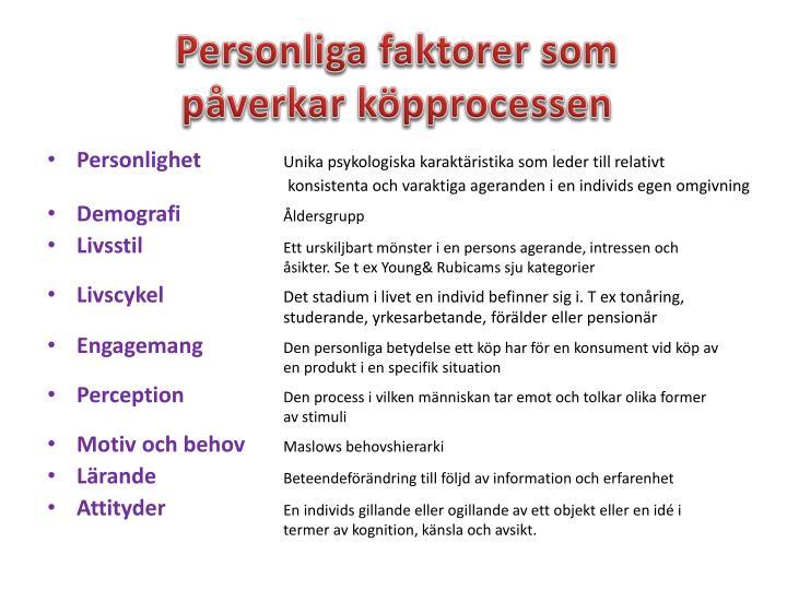Personliga faktorer som