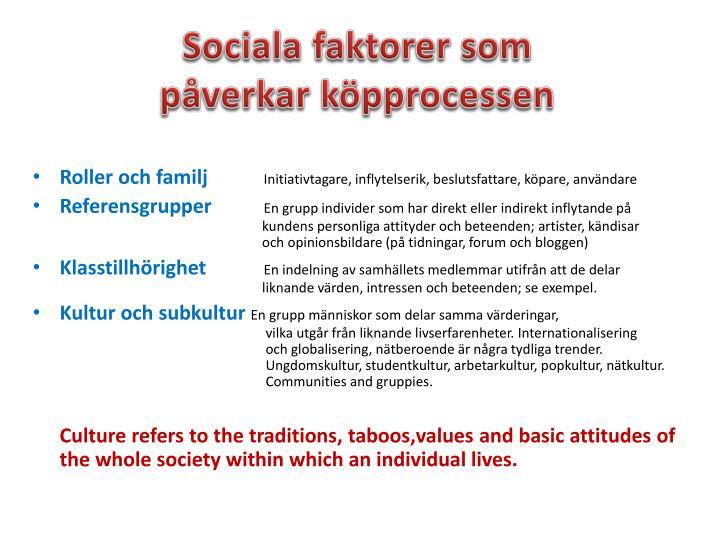Sociala faktorer som