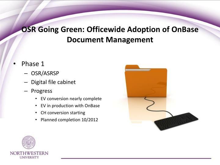 OSR Going Green: