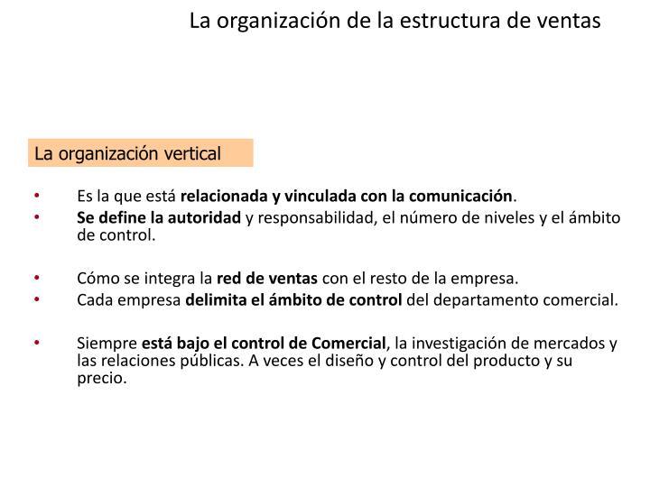 La organización de la estructura de ventas