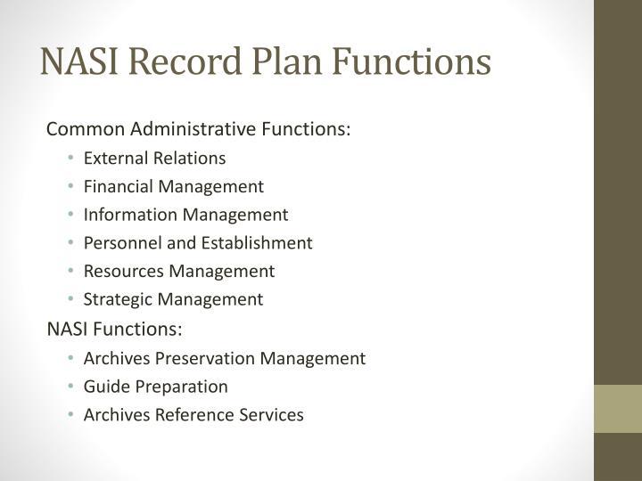 NASI Record Plan Functions