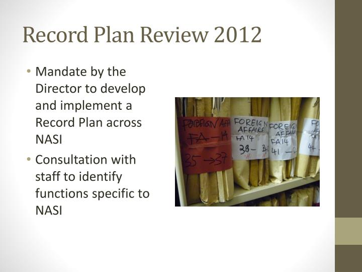 Record Plan Review 2012