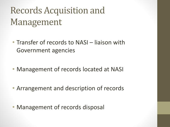 Records Acquisition and Management
