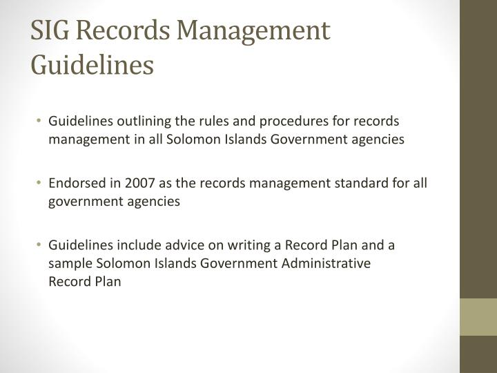 SIG Records Management Guidelines