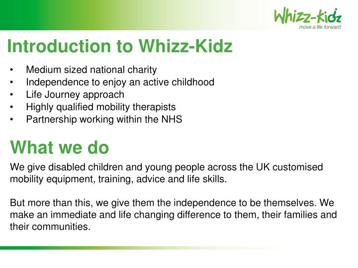 Introduction to whizz kidz