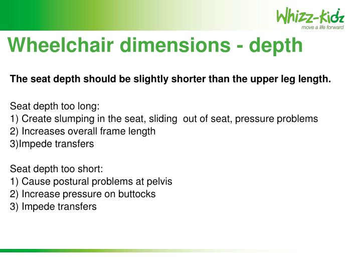 Wheelchair dimensions - depth