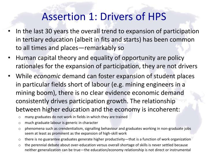 Assertion 1: Drivers of HPS
