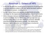 assertion 1 drivers of hps