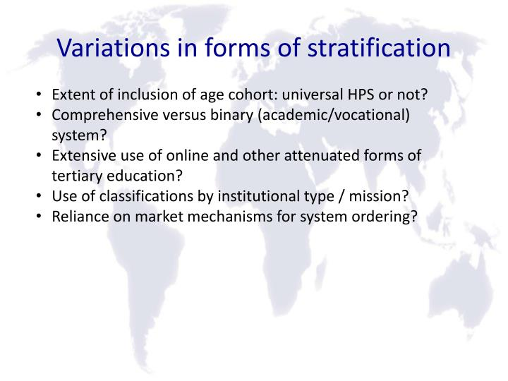 Variations in forms of stratification