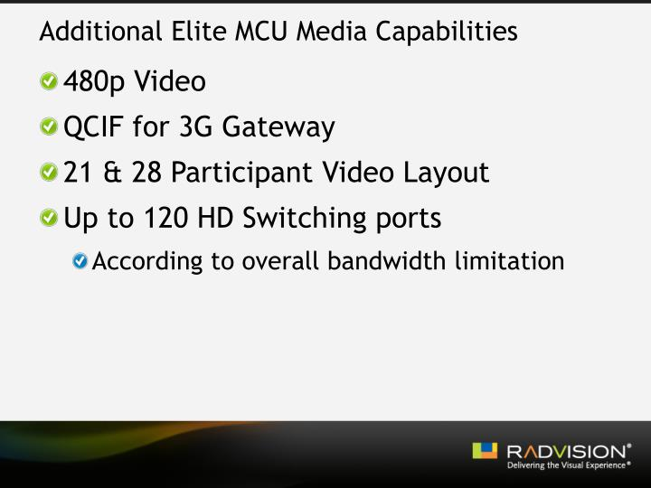 Additional Elite MCU Media Capabilities