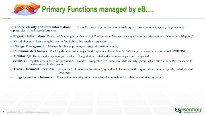 Primary Functions managed by