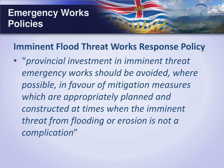 Emergency Works Policies