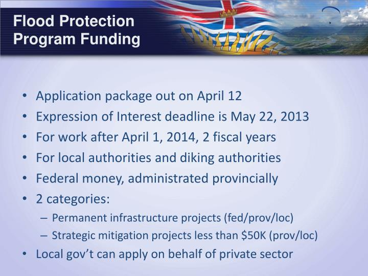 Flood Protection Program Funding