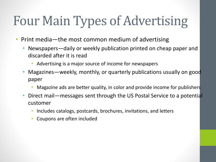 Four Main Types of Advertising