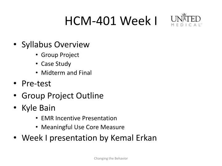 HCM-401 Week I