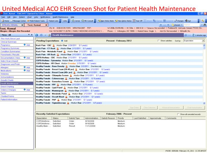 United Medical ACO EHR Screen Shot for Patient Health Maintenance